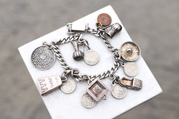 Sterling Silver Curb Link Mexican Charm Bracelet,