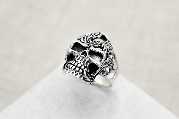 Sterling Silver Vine Skull Biker Ring, Sterling Bi