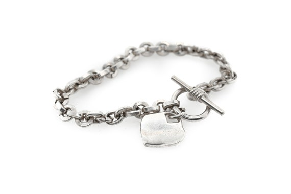 Solid Sterling Silver Heart Tag Toggle Link Bracel