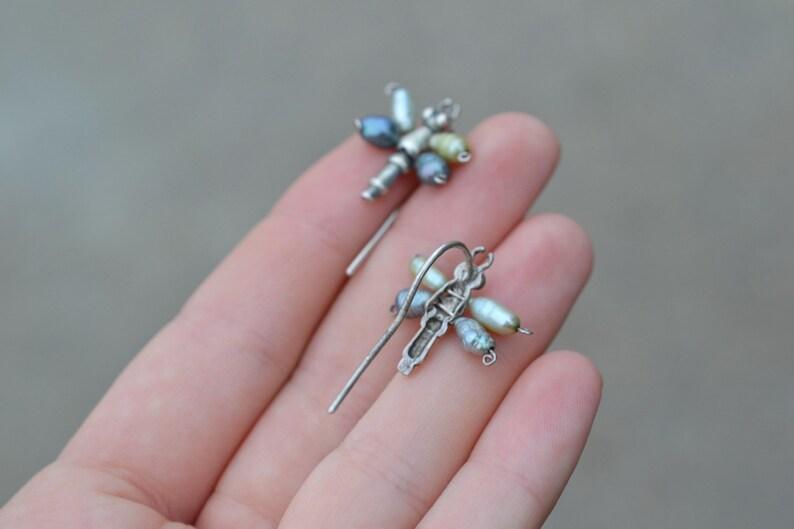 Sterling Silver Rice Pearl Earrings Artisan Sterling Colored Pearl Dragonfly Earrings Sterling Dragonfly Earrings Dragonfly Jewelry