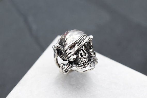 Sterling Silver Pirate Skull Biker Ring, Sterling