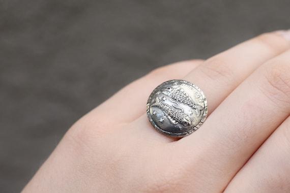 Sterling Silver PISCIS Zodiac Ring, Zodiac Jewelry