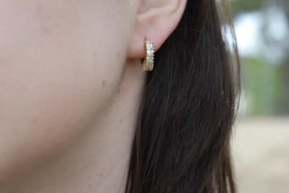 14k Yellow Gold CZ Hoop Earrings, Gold Hoop Earri… - image 2