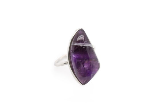 Sterling Silver Natural Cabochon Amethyst Ring, St