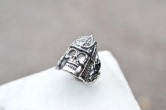 Sterling Silver Samurai Skull Biker Ring, Sterling
