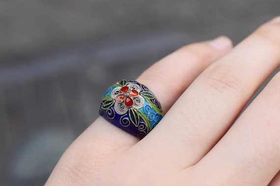 Antique Sterling Silver Enamel Chinese Ring, Chine