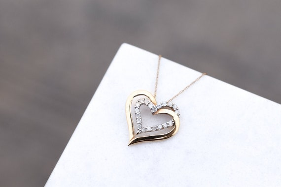 10K Yellow Gold and Diamond Open Heart Necklace, 1