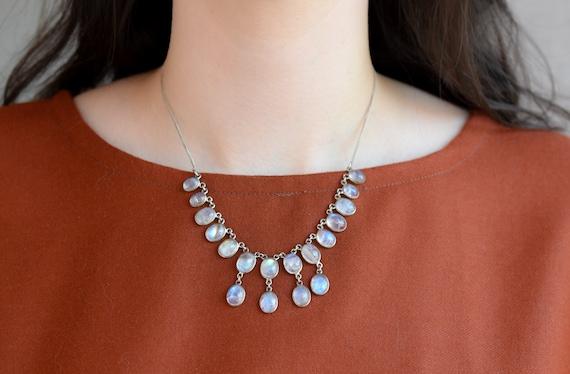 Sterling Silver Boho Moonstone Bib Necklace, Moons