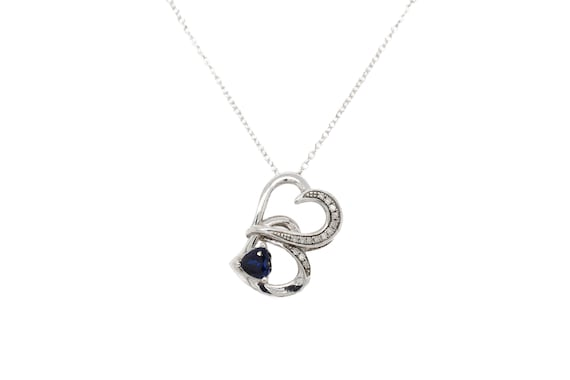 Sterling Silver Synthetic Sapphire Open Heart Neck