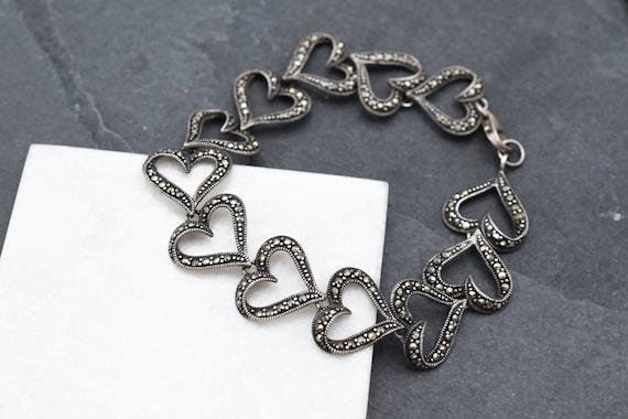 925 Sterling Silver Real Marcasite Gemstone Heart Design Link Bracelet 7.5