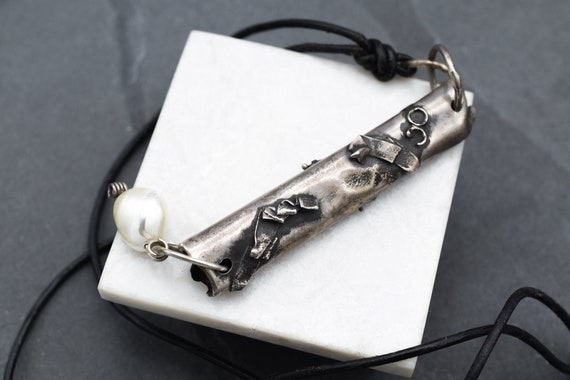 Sterling Silver Brutalist Pendant with Pearl Bead,