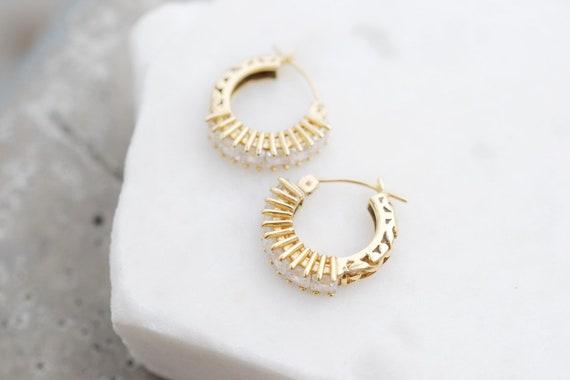 14k Yellow Gold CZ Hoop Earrings, Gold Hoop Earri… - image 3