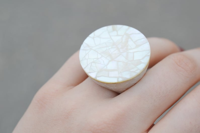 Mother of Pearl Inlay Ring Shell Mosaic Ring Sterling Silver Shell Ring Sterling Silver Wood and Crushed Shell Mosaic Statement Ring