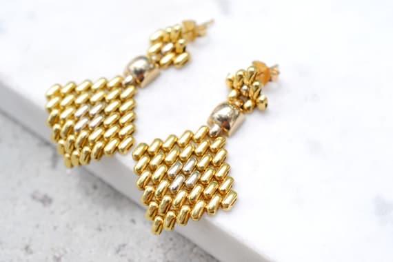 18k Yellow Gold Woven Dangle Earrings, 18k Gold Ea