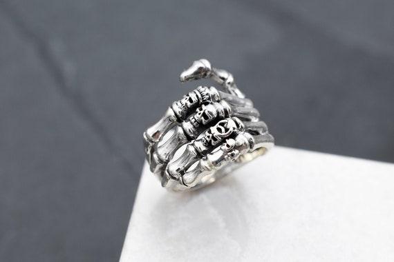 Sterling Silver Skeleton Hand Punk Biker Ring, Ste