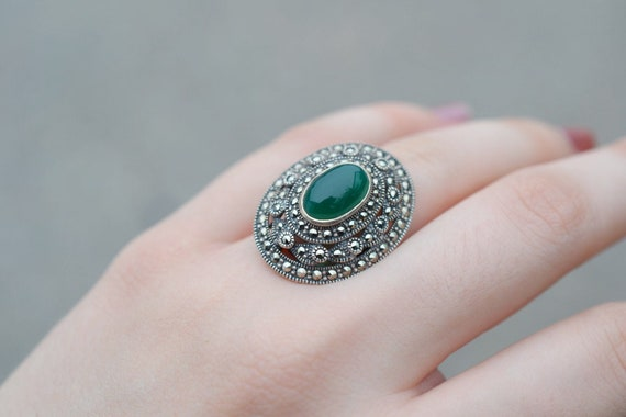 Sterling Silver Art Deco Marcasite and Green Onyx