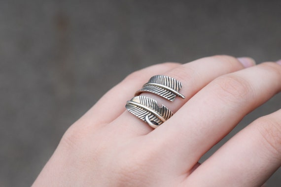 Sterling Silver Native American Feather Wrap Ring,