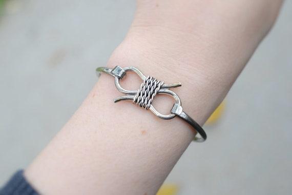 Sterling Silver Hook and Loop Rope Bangle Bracelet
