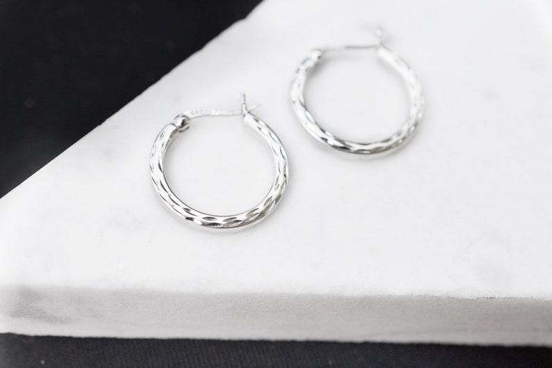 Sterling Silver 925  Diamond Cut Style Big Hoop Earrings.