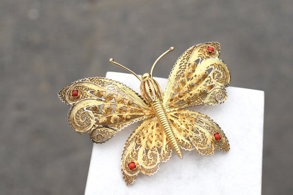 Sterling Silver Gold Overlay Filigree Butterfly Br