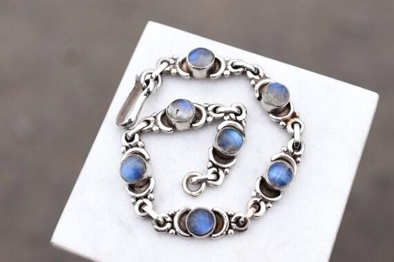 Sterling Silver Moonstone Link Bracelet, Sterling