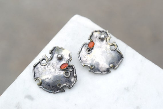 Sterling Silver Brutalist Artisan Earrings with Re