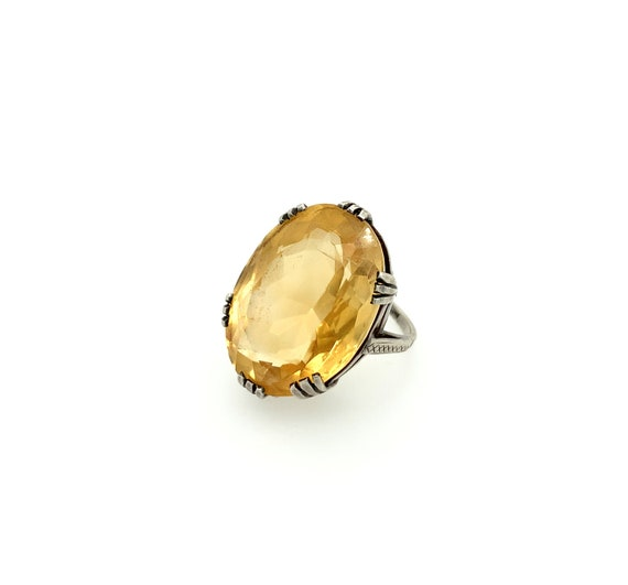 Antique Sterling Silver Oval Citrine Ring, Antique
