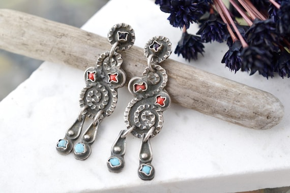 Matl Style Sterling Silver Mexico Dangle Earrings,