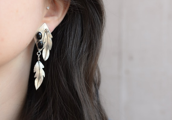 Sterling Silver Dangle Onyx Feather Earrings, Ster
