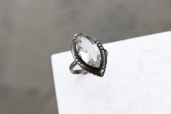 Sterling Silver Mexican Modernist Marquise Gemston