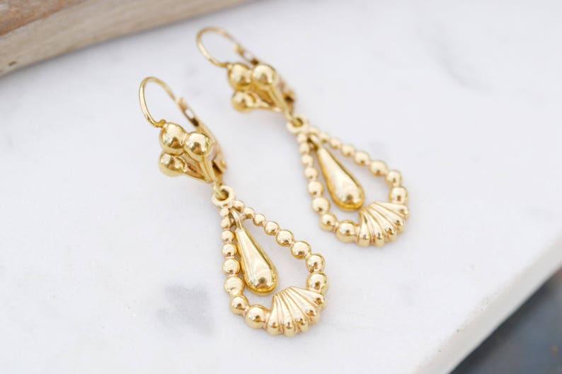 18k Yellow Gold Dangle Earrings 18k Yellow Gold Earrings 18k image 0