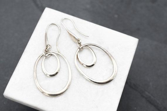 Sterling Silver Modern Oval Dangle Earrings, Sterl