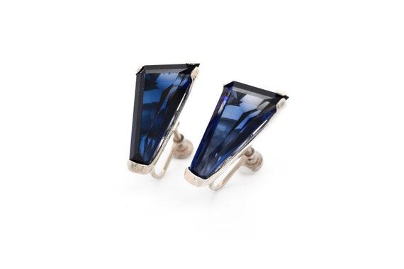 Sterling Silver Geometric Deep Blue Gemstone Screw