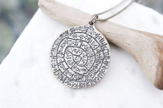 Sterling Silver Greek Phaistos Disk Necklace, Gree
