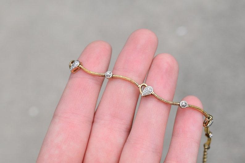 Gold Heart Bracelet Sterling Silver Gold Overlay Gemstone Heart Link Bracelet Delicate Heart Link Heart Jewelry Sterling Heart Bracelet
