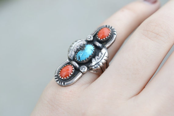 Sterling Silver Native American Turquoise and Cora