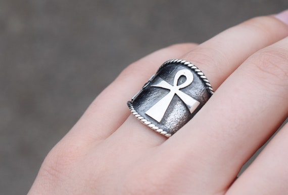 Wide Sterling Silver Egyptian Ankh Ring, Sterling