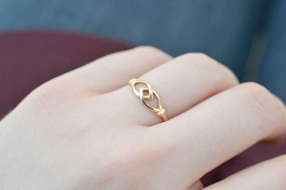 Delicate 18k Yellow Gold Ring, Minimalist Gold Jew
