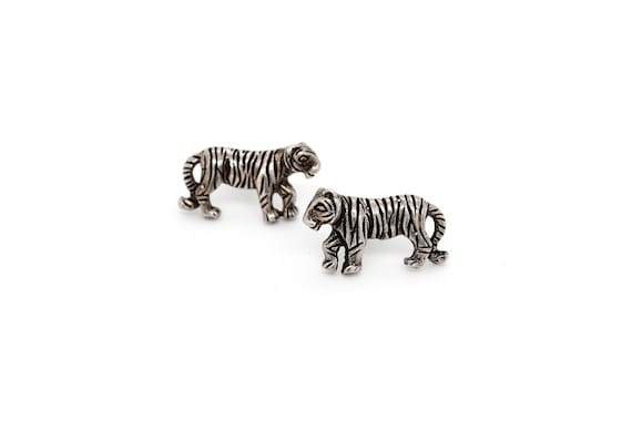 Sterling Silver Tiger Stud Earrings, Tiger Jewelry