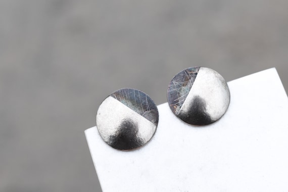 Sterling Silver Textured Dome Earrings, Unique Ste