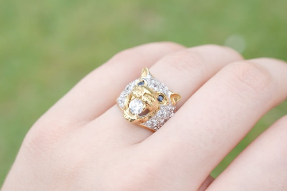 14k Gold Panther Ring with Cubic Zirconia, 14k Pan