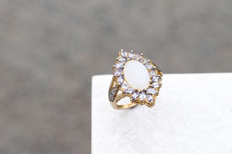 Tanzanite Cocktail Ring 10k Yellow Gold Tanzanite and White Moonstone Ring 10k Tanzanite Ring Tanzanite Jewelry Gold Moonstone Ring