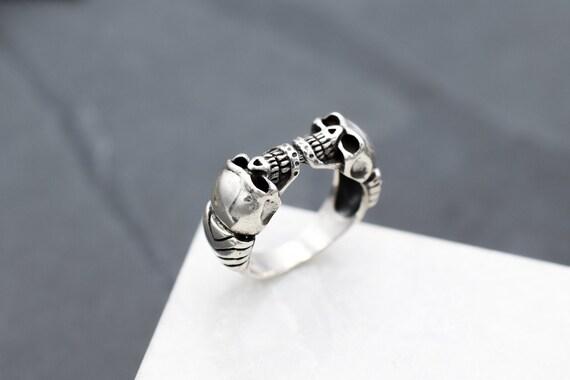 Sterling Silver Double Skull Biker Ring, Sterling