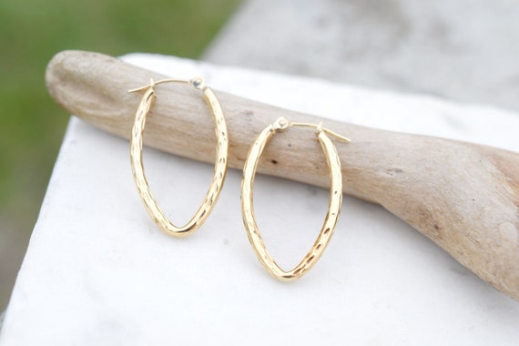 14k Pointed Diamond Cut Hoop Earrings, Unique Gold