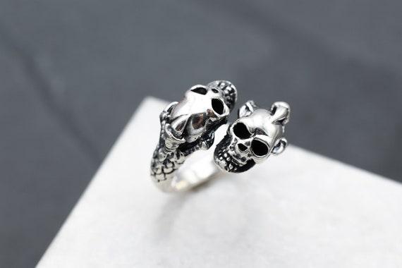 Sterling Silver Skull Bypass Biker Ring, Sterling