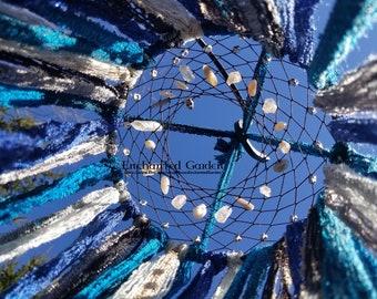 Black and Blue Skull MoonStone and Angel Aura Quartz Dream Catcher OOak