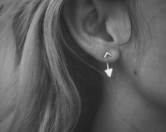 Tiny Hammered Arrow Ear Jackets & Chevron Studs Combo - Sterling Silver - Pair of Studs and Jackets - Front Back Earrings - Double Sided