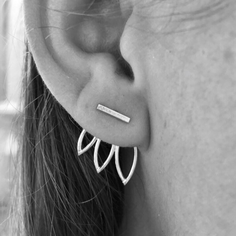 Triple Leaf Ear Jackets and Silver Bar Stud Earrings Combo  All Shiny
