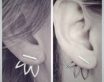 Oxidized Triple Leaf Ear Jackets and Silver Bar Stud Earrings Combo - Sterling Silver - Set of Studs and Jackets - Front Back Earring Set