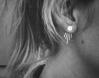 Moonbeam Deep V Ear Jackets and Full Moon Stud Combo - Sterling Silver - Pair of Studs and Jackets - Front Back Earring Set
